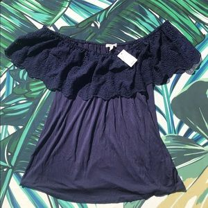 🌿 Maurices Off The Shoulder Blue Top Embroidery